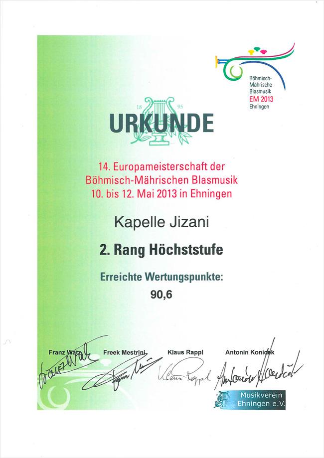 Diplom 2.místo 14. ročník Mistrovství Evropy